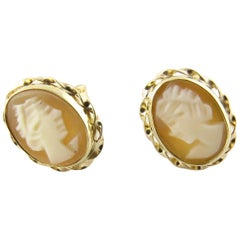 14 Karat Yellow Gold Cameo Earrings