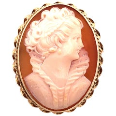 14 Karat Yellow Gold Cameo of Woman's Profile Pendant and Brooch