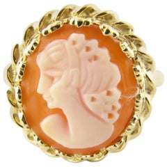 14 Karat Yellow Gold Cameo Ring