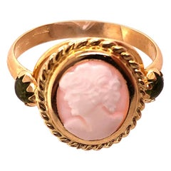14 Karat Yellow Gold Cameo Ring with Stones