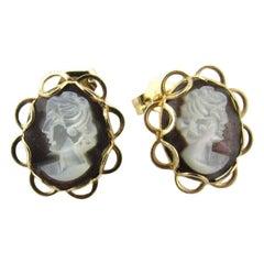 14 Karat Yellow Gold Cameo Stud Earrings