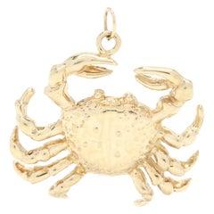 14 Karat Yellow Gold Cancer Zodiac Crab Charm / Pendant