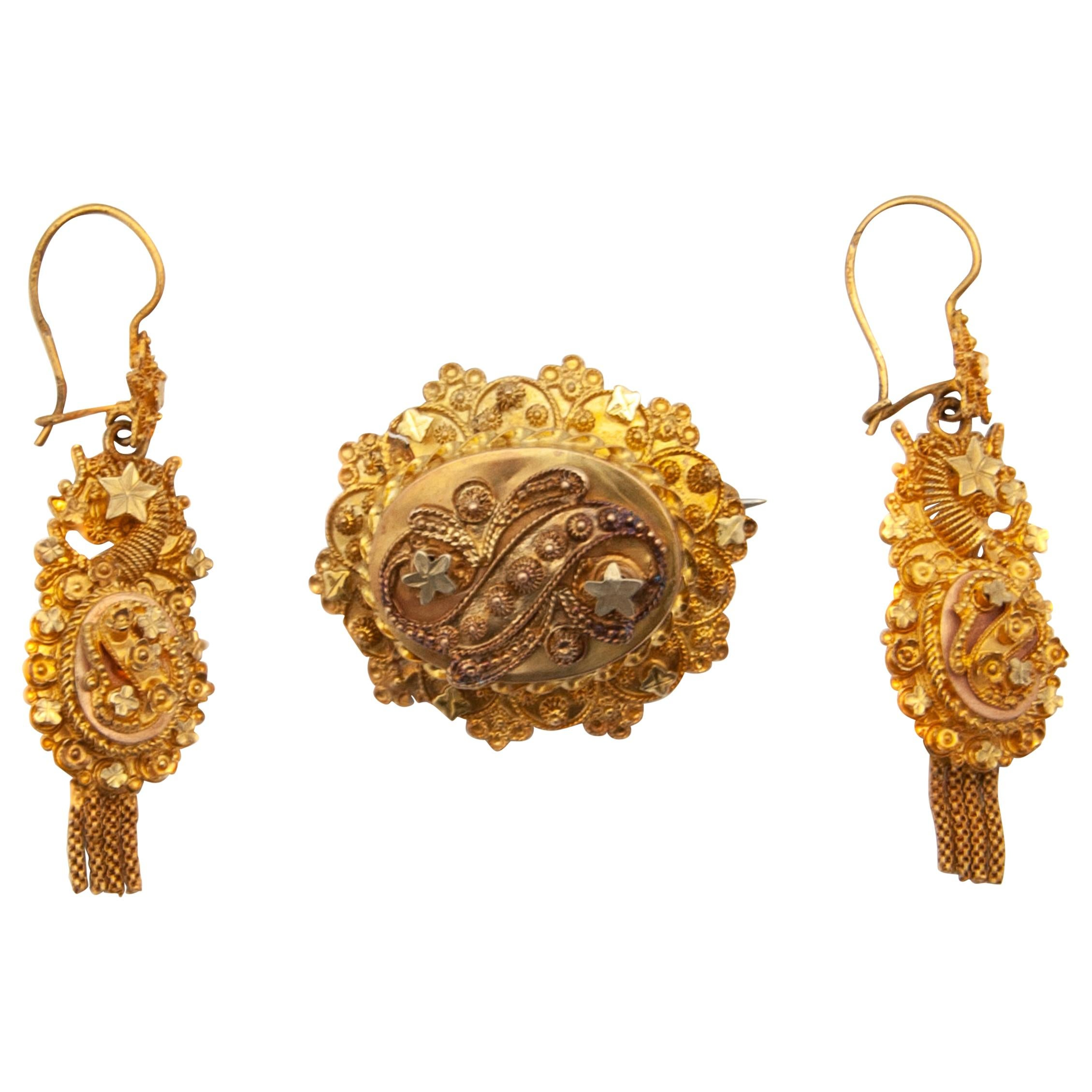 14 Karat Yellow Gold Cannetille Earrings and Brooch Jewelry Set