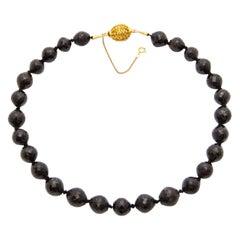 14 Karat Yellow Gold Filigree Garnet Beaded Necklace