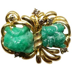 14 Karat Yellow Gold Carved Emerald and Diamond Pin