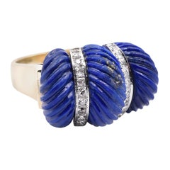 14 Karat Yellow Gold Carved Lapis and Diamond Ring