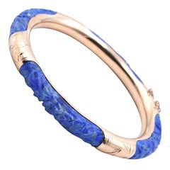 14 Karat Yellow Gold Carved Lapis Bangle Bracelet
