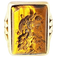 14 Karat Yellow Gold Carved Tiger's Eye Ring