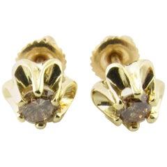 14 Karat Yellow Gold Champagne Diamond Earrings
