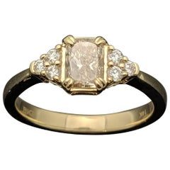 14 Karat Yellow Gold Champagne Diamond Ring
