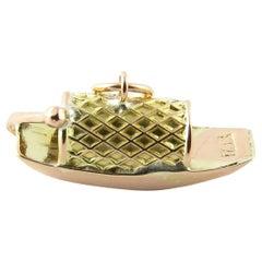 14 Karat Yellow Gold Chinese Fishing Boat Charm