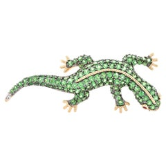 14 Karat Yellow Gold Chrome Diopside, Ruby, and Diamond Lizzard Pin