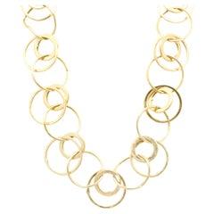 14 Karat Yellow Gold Circle Link Collar Necklace