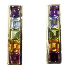 14 Karat Yellow Gold Citrine, Amethyst, Blue Topaz, and Garnet Stick Earrings