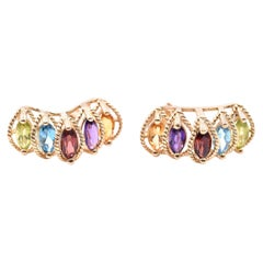 14 Karat Yellow Gold Citrine, Amethyst, Garnet, Blue Topaz, and Peridot J Style