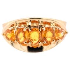 14 Karat Yellow Gold Citrine and Garnet Ring