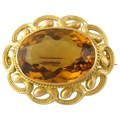 14 Karat Yellow Gold Citrine Brooch