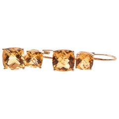 14 Karat Yellow Gold Citrine Drop Earrings