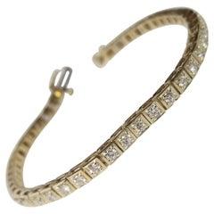14 karat yellow gold classic box custom diamond tennis bracelet 2.55 carat