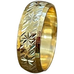 14 Karat Yellow Gold Classic Wide Star Wedding Band With Design Ring, Unisex