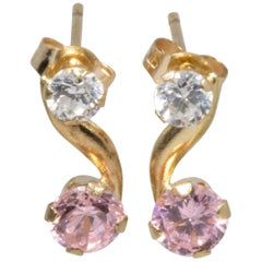 14 Karat Yellow Gold Clear and Rose Cubic Zirconia Post Back Earrings