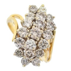 14 Karat Yellow Gold Cluster Diamond Ring 1.5 Carat