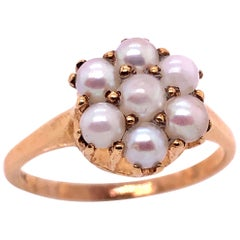 14 Karat Yellow Gold Cluster of Pearl Ring