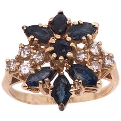 14 Karat Yellow Gold Cluster Ring with Onyx and Diamonds