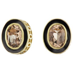 14 Karat Yellow Gold Coal Enamel Smokey Topaz Stud Earring