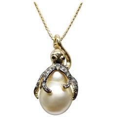 "14 Karat Yellow Gold ""Cognac"" Brown Diamonds, South Sea Pearl ""Octopus"" Necklace"