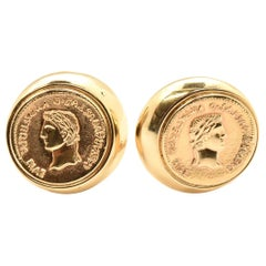 14 Karat Yellow Gold Coin Clip-On Earrings