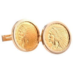 14 Karat Yellow Gold Coin Cufflinks