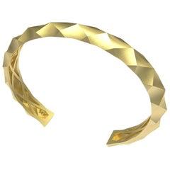 14 Karat Yellow Gold Concave Rhombus Unisex Cuff Bracelet