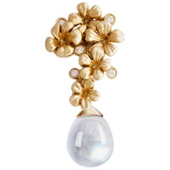 14 Karat Yellow Gold Contemporary Brooch with Diamonds and Removable Moonstone
