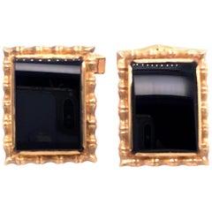 14 Karat Yellow Gold Contemporary Onyx Cufflinks