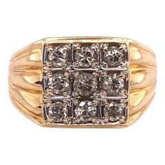 14 Karat Yellow Gold Contemporary Ring with 9 Round Diamonds