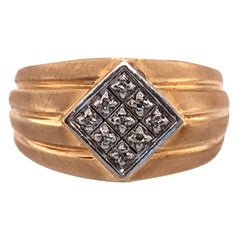 14 Karat Yellow Gold Contemporary Ring with Diamonds