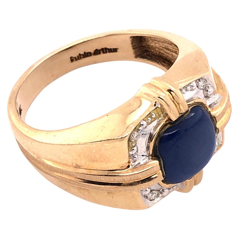 14 Karat Yellow Gold Contemporary Ring with Diamonds For Sale