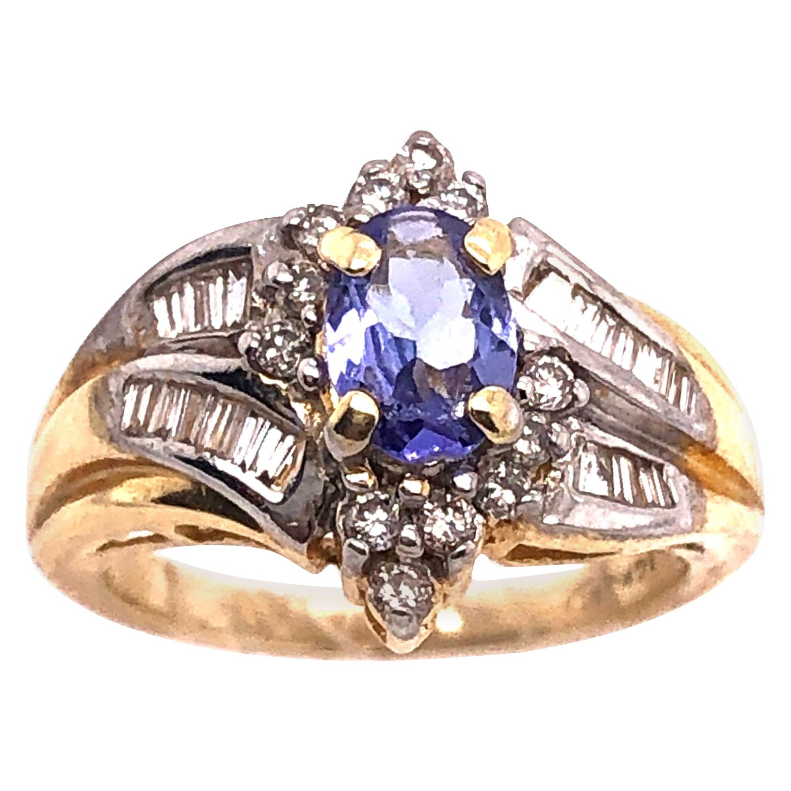 14 Karat Yellow Gold Contemporary Ring with Topaz and Diamonds