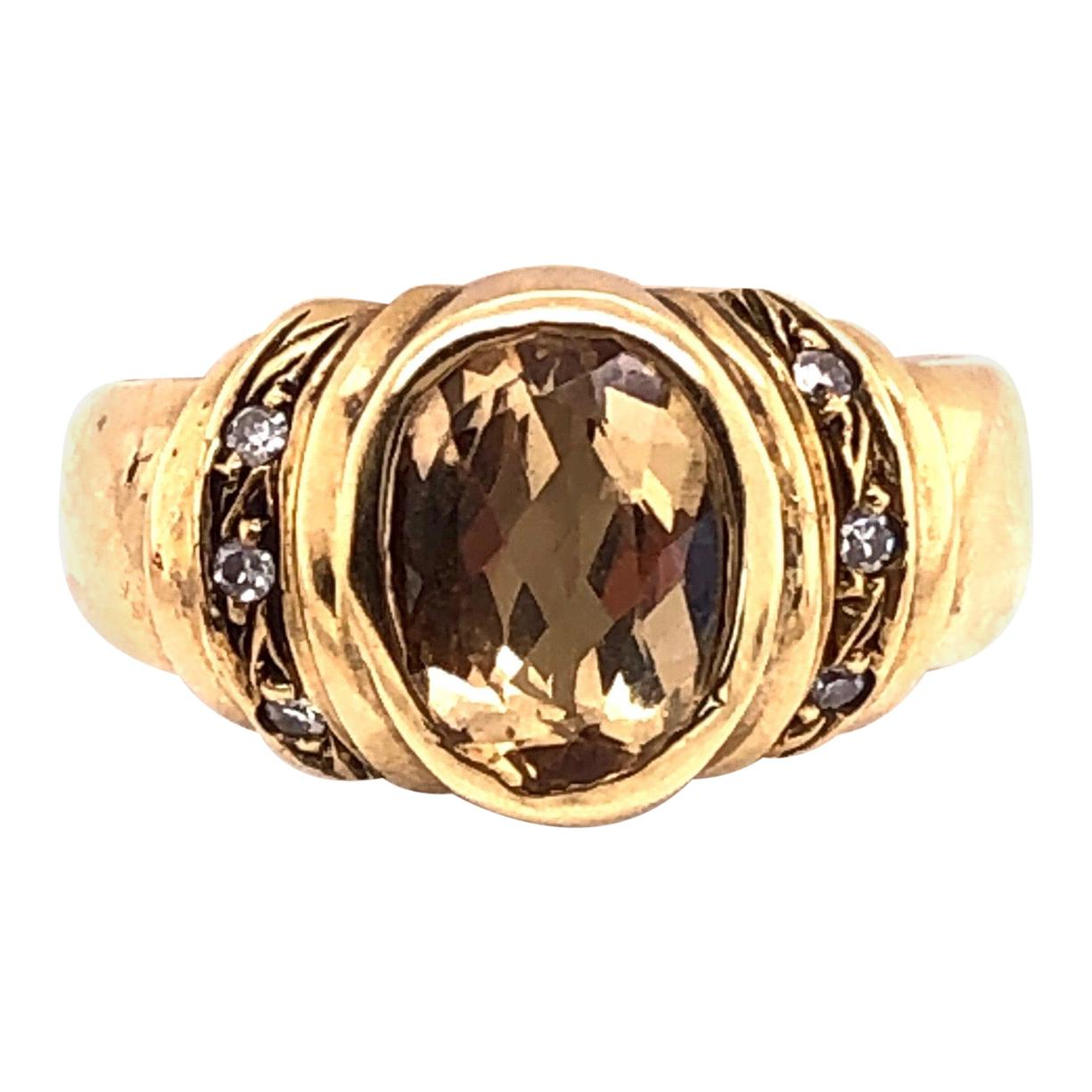 14 Karat Yellow Gold Contemporary Ring with Topaz Center Stone