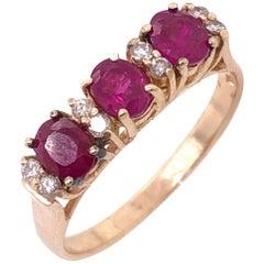 14 Karat Yellow Gold Contemporary Ruby and Diamond Ring