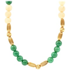 14 Karat Yellow Gold, Coral and Green Jade Bead Necklace