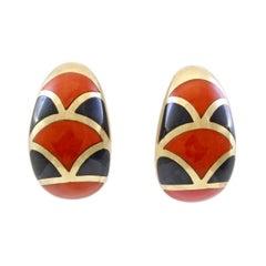 14 Karat Yellow Gold Coral & Onyx Vintage Huggy Earrings