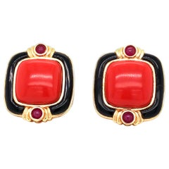 14 Karat Yellow Gold Coral Ruby Earrings