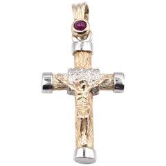 14 Karat Yellow Gold Crucifix Cross Necklace