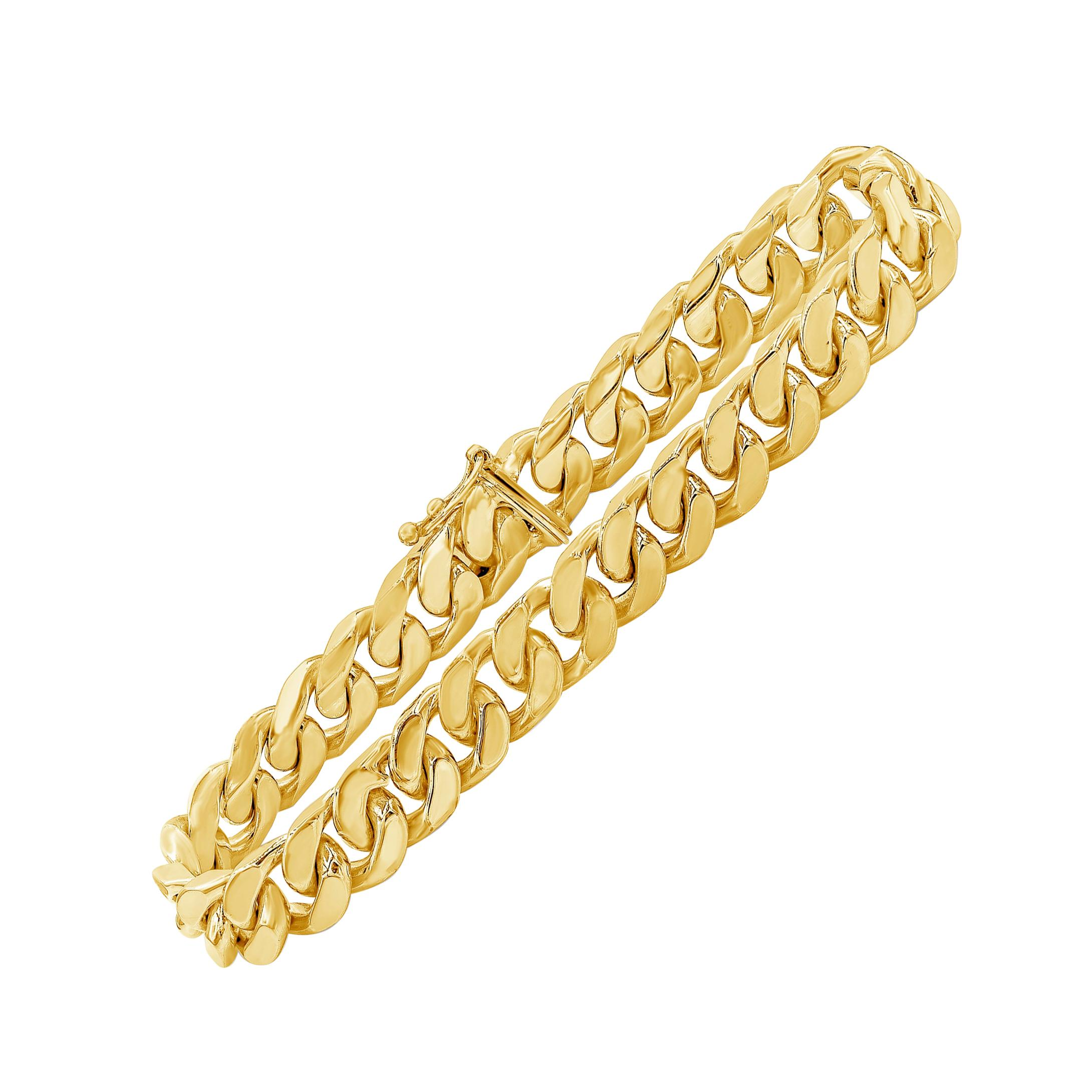 14 Karat Yellow Gold Cuban Link Chain Bracelet