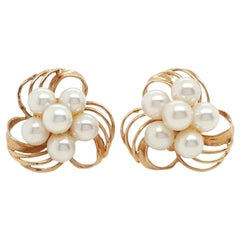14 Karat Yellow Gold Cultured Akoya Pearl Cluster Flower Stud Earrings