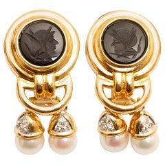 14 Karat Yellow Gold Cultured Pearl, Diamond and Black Onyx Intaglio Earrings
