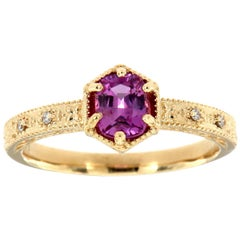 14 Karat Yellow Gold Cushion Pink Sapphire Vintage Diamond Ring Center-3/4 Carat