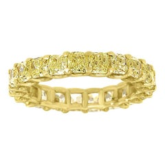 14 Karat Yellow Gold Cushion Yellow Diamonds Eternity Ring '3 1/2 Carat'
